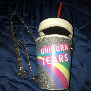 Unicorn Tears crossbody bag👛 cup w/straw purse.